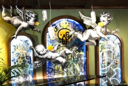 Banksy's putti with gas masks, 'Walled Off' Hotel Bethlehem