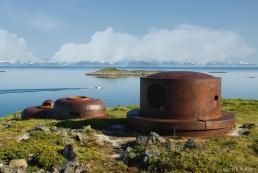 Three armoured cupolas at Dietl battery, Engeloya, Norway