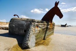Mule bunkers on Blavand strand, Denmark