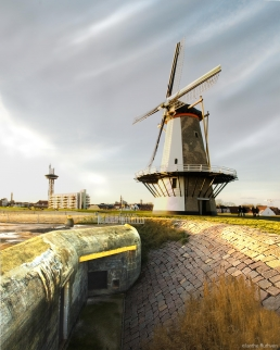 Bunker with windmill, Vlissingen, Holland
