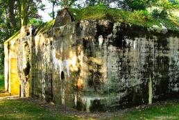 Erosion on bunker at Groede, Holland