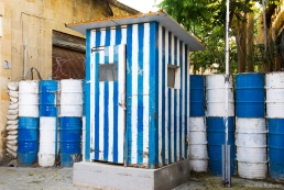 Sentry Box painted with Greek colours, Nicosia, Cyprus