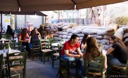 Cafe with sandbags, Nicosia, Cyprus