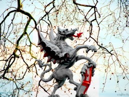 Boundary Dragon on Victoria Embankment. These silver beasts bearing the cross of St. George guard many of the main entrances to the City of London