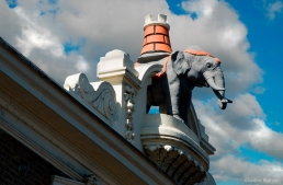 Statue of the Elephant and Castle, atop the old pub of the same name, Bondway, near Vauxhall tube Station.