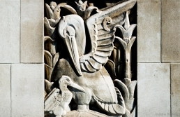 Keystone relief of pelican and her young (1932) at 8 Cavendish Square, W1.