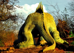 Hylaeosaurus at Crystal Palace, Sydenham, SE27, one of 33 life-size models of giant lizards commissioned from Prof. Richard Owen to coincide with the Great Exhibition of 1854
