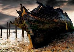 Ship-wrecked schooner at Cliffe, Kent